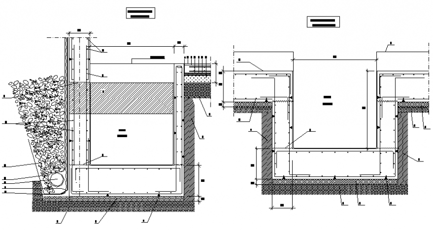Hollow pit elevator section and installation details dwg file