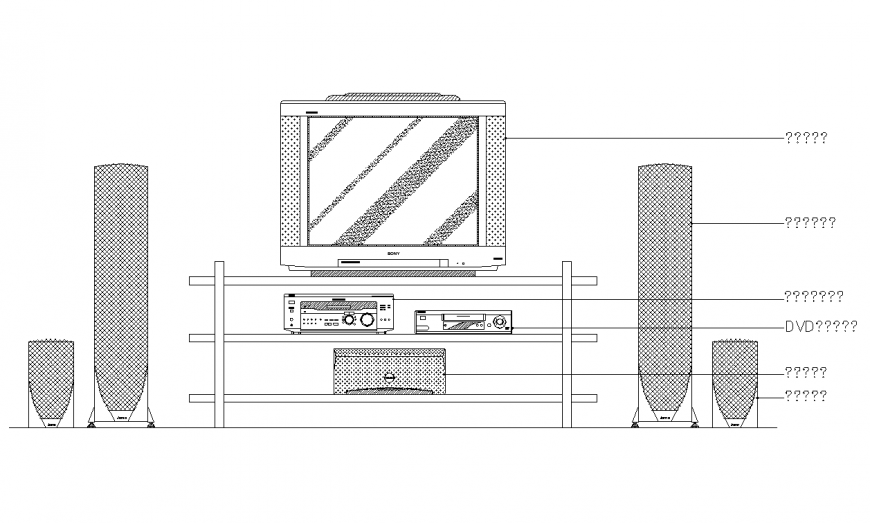 Home audio system elevation with house hold block design dwg file