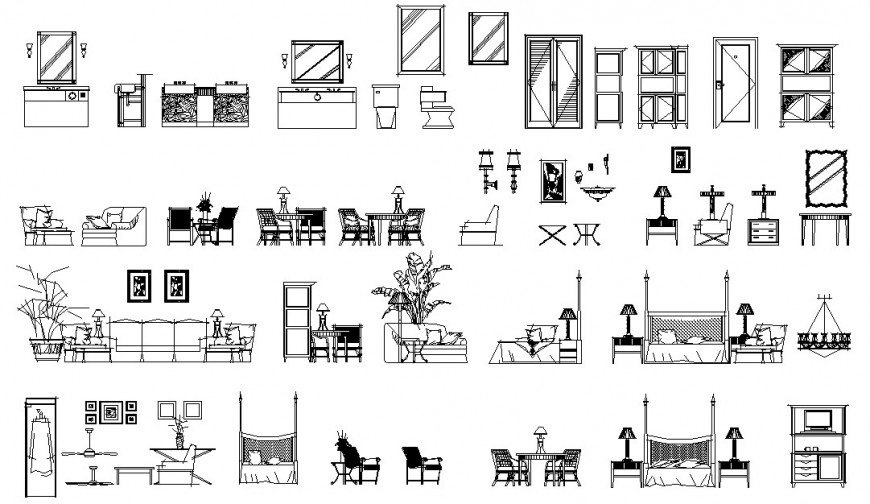 Home decorative and furniture elevation blocks cad drawing details dwg file