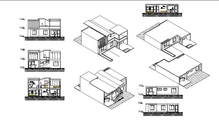 Home elevation with isometric view in auto cad