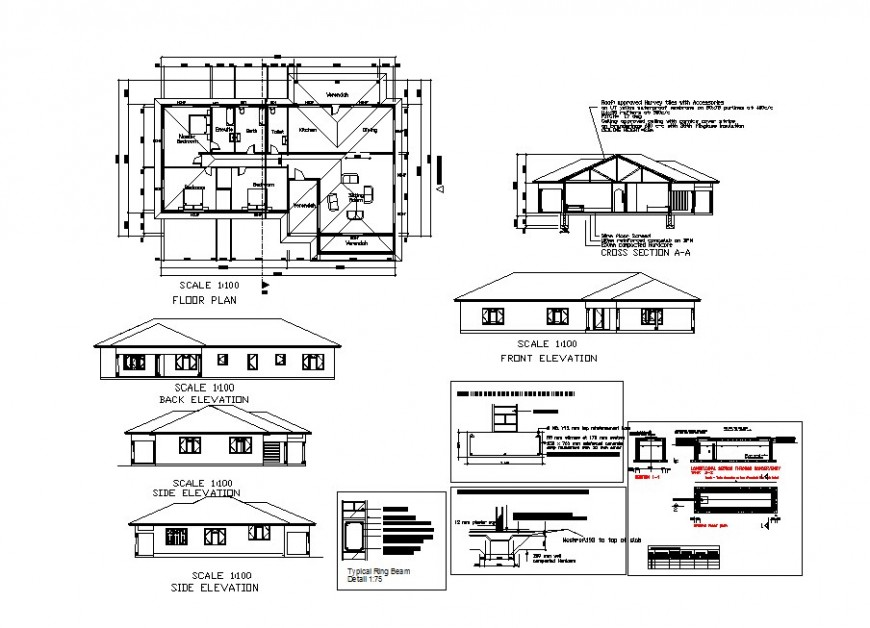Home one family elevation, section and plan drawing details dwg file