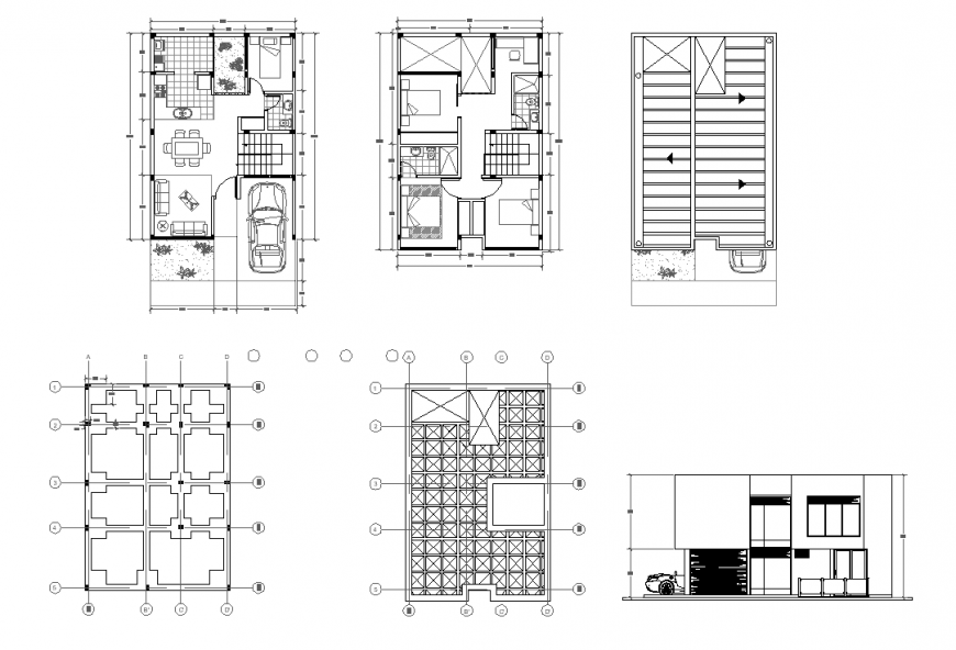 Home plan and elevation detail dwg file