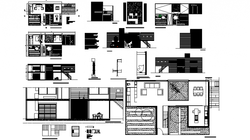 Home plan and elevation with home yard architecture portion dwg file