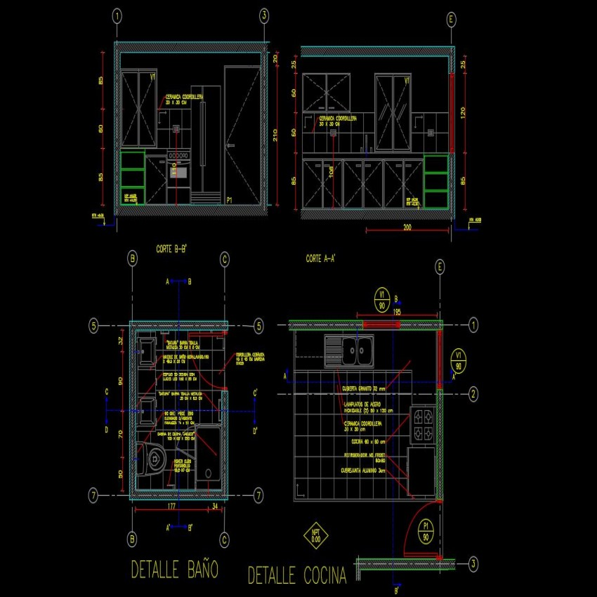 Home plan with architecture view of bathroom and kitchen view dwg file