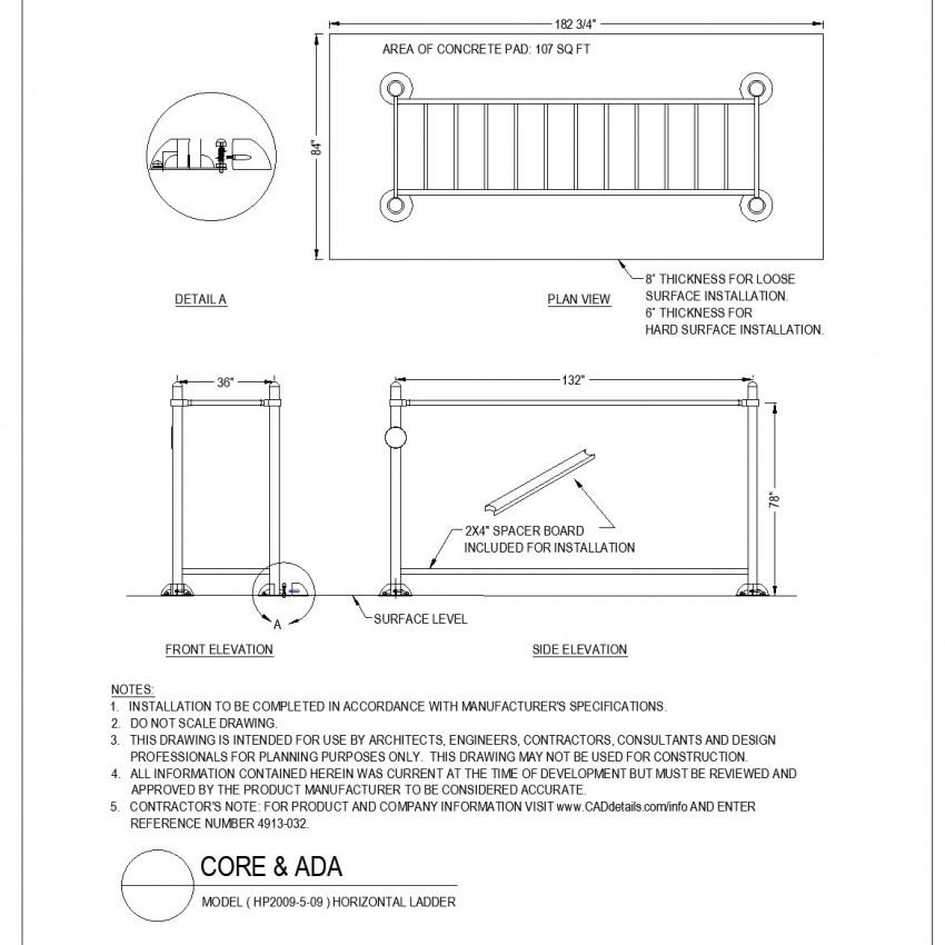 Horizontal ladder layout plan