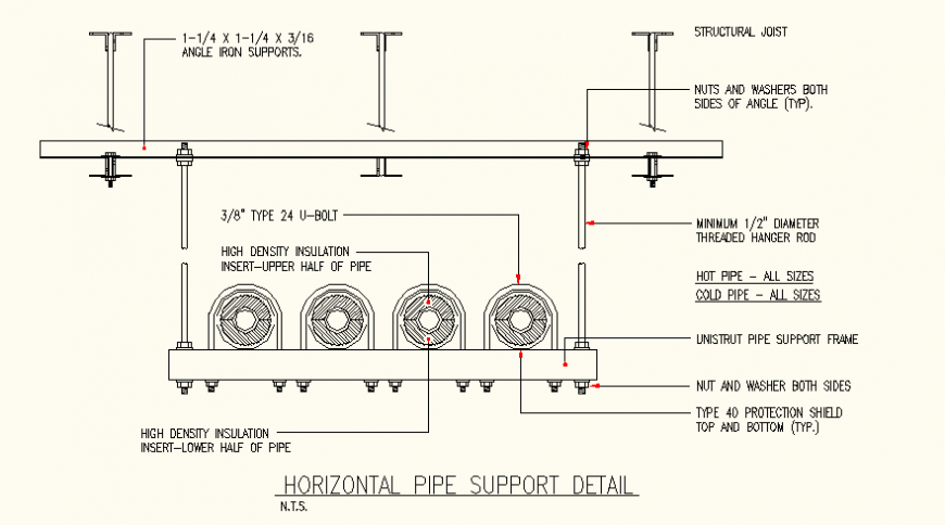 Horizontal pipe support detail elevation layout plan