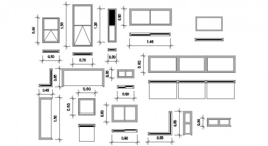 Horizontal sliding window detail cad file