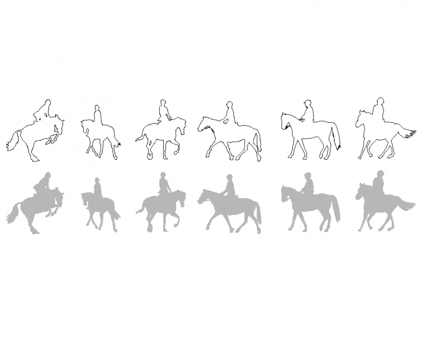 Horse and rider different position with her shadow with block design dwg file