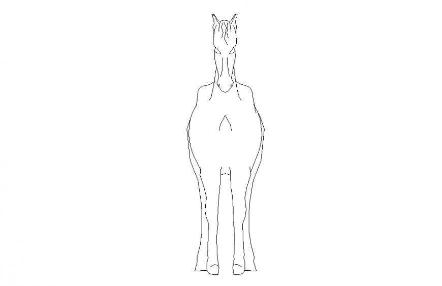 Horse Animal Block Design in autocad file