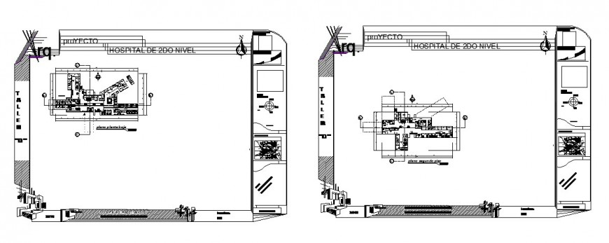 Hospital 2nd level plan detail drawing in dwg AutoCAD file.