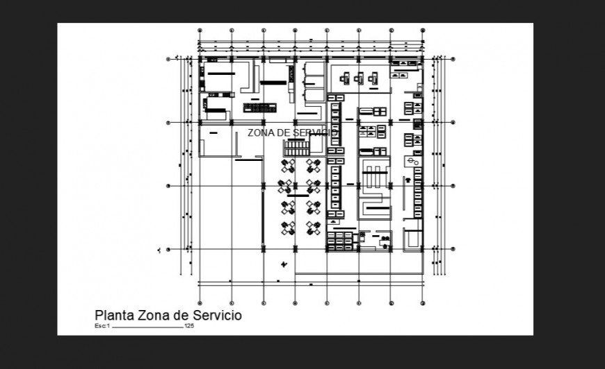 Hospital  Service area detail dwg file in autocad format