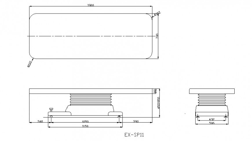 Hospital bed plan, elevation and section layout file