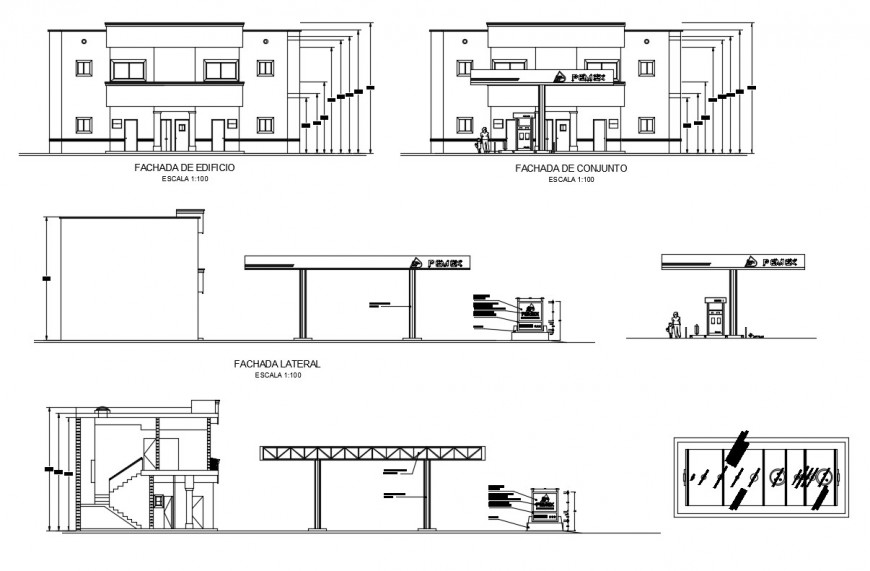 Hospital building all sided elevation, section and bus stop cad drawing details dwg file