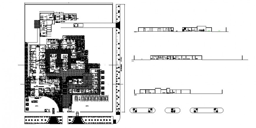 Hospital building all sided elevation, section and distribution plan cad drawing details dwg file