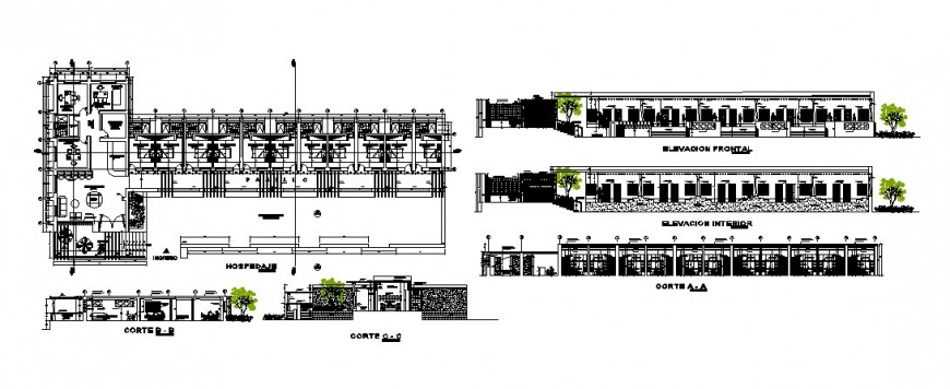 Hospital building center line plan with elevation and sectional detail in autocad format