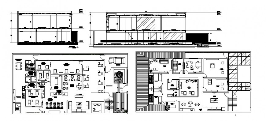 Hospital building department section and plan cad drawing details dwg file