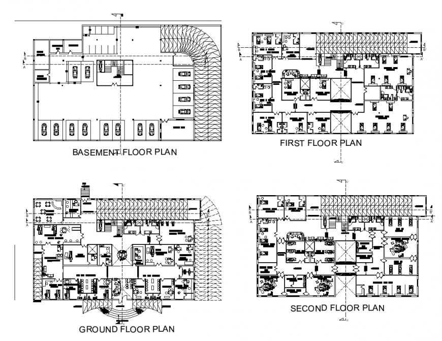 Hospital building detail elevation layout dwg file