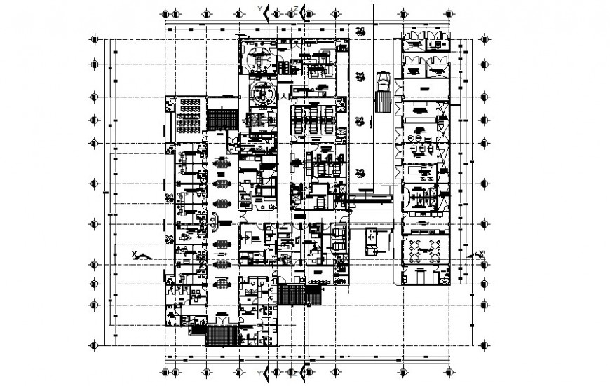 Hospital building details work plan 2d view drawing autocad file