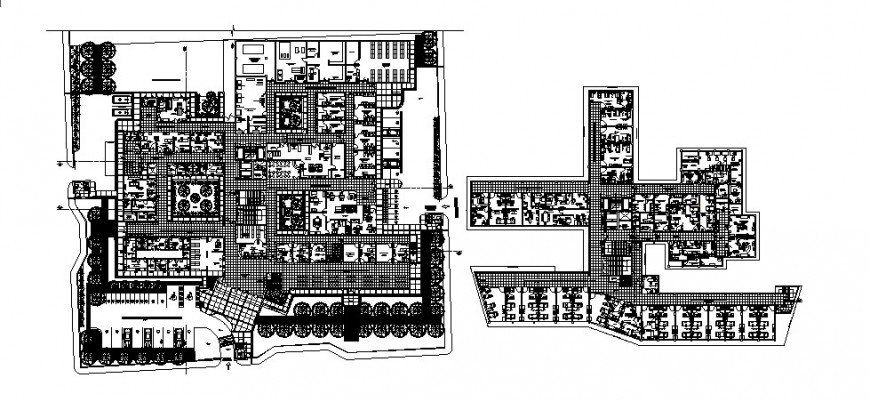 Hospital building distribution and first floor plan cad drawing details dwg file