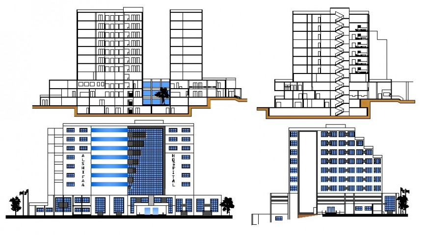 Hospital building elevation and section autocad drawing