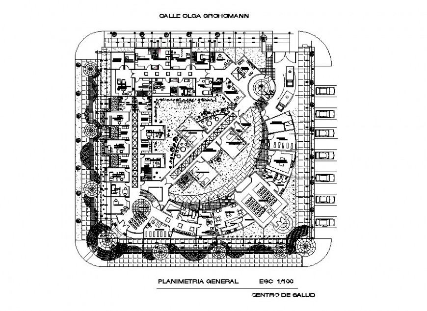 Hospital building general planimetry layout cad drawing details dwg file