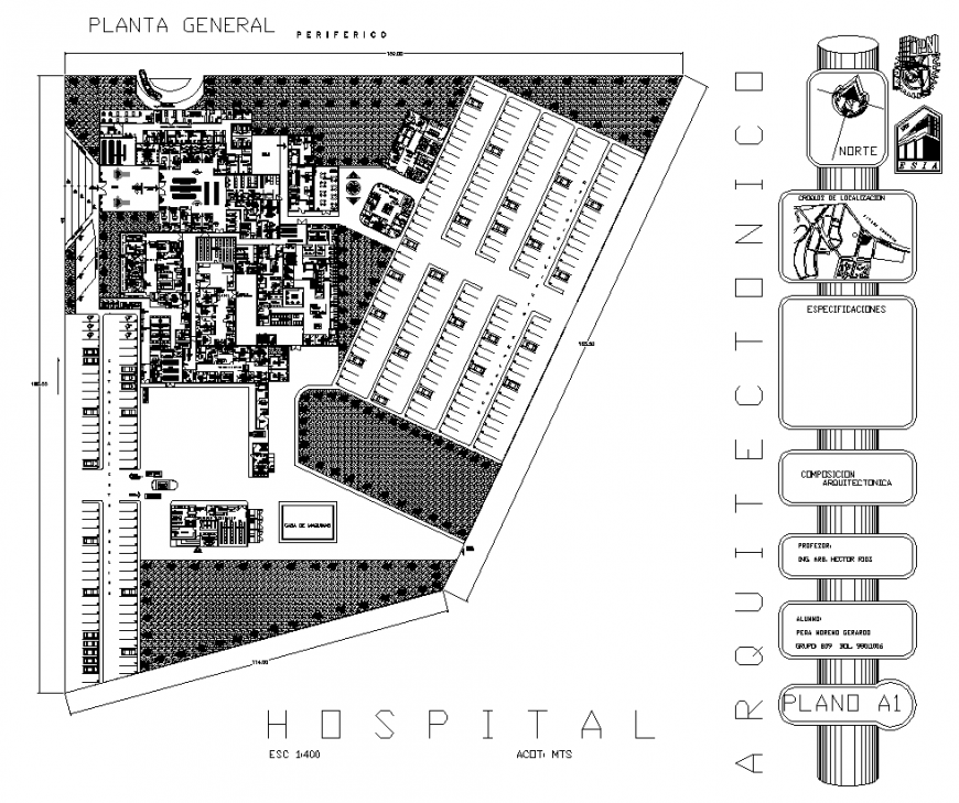 Hospital building structure detail plan layout file