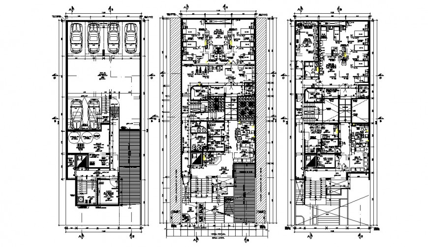 Hospital building three floors distribution plan cad drawing details dwg file