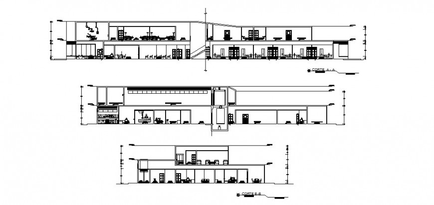 Hospital building two-story all sided section cad drawing details dwg file