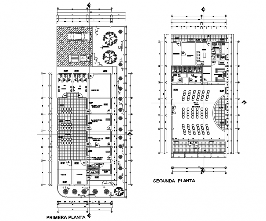 Hospital building working plan and furniture units detail in dwg format