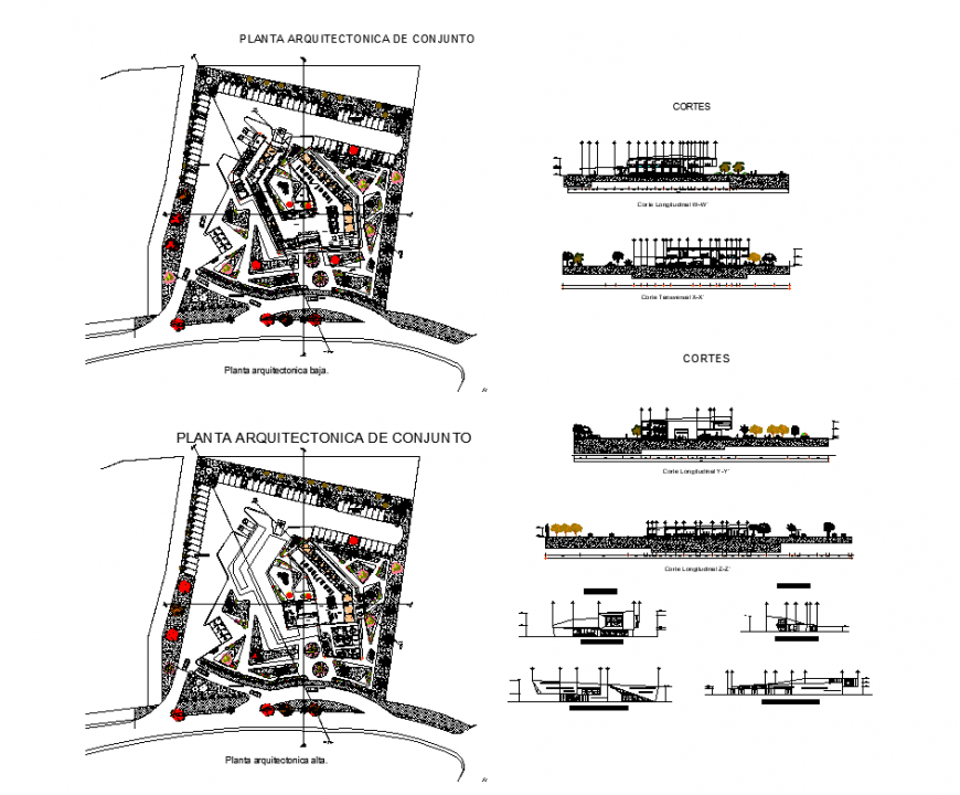 Hospital clinic building structure detail 2d view plan, elevation and sectional layout dwg file
