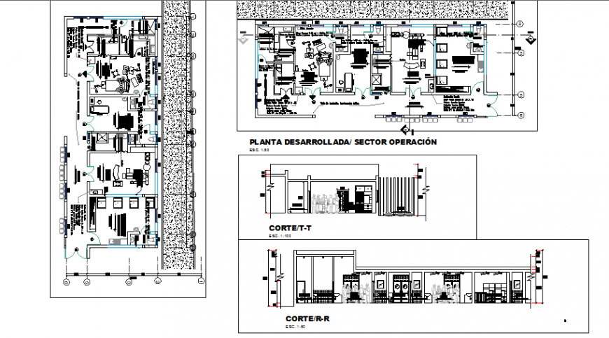 Hospital departments floor plan and sectional details dwg file