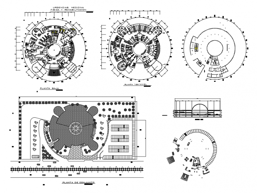 Hospital distribution plan, floor plan and auto-cad details dwg file