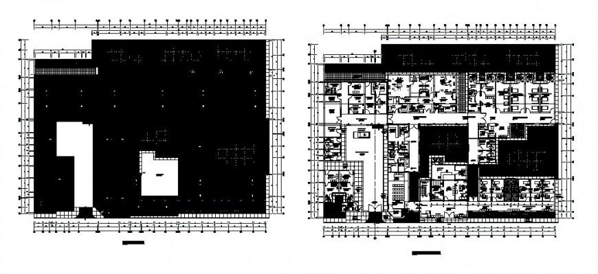 Hospital distribution plan and landscaping structure cad drawing details dwg file