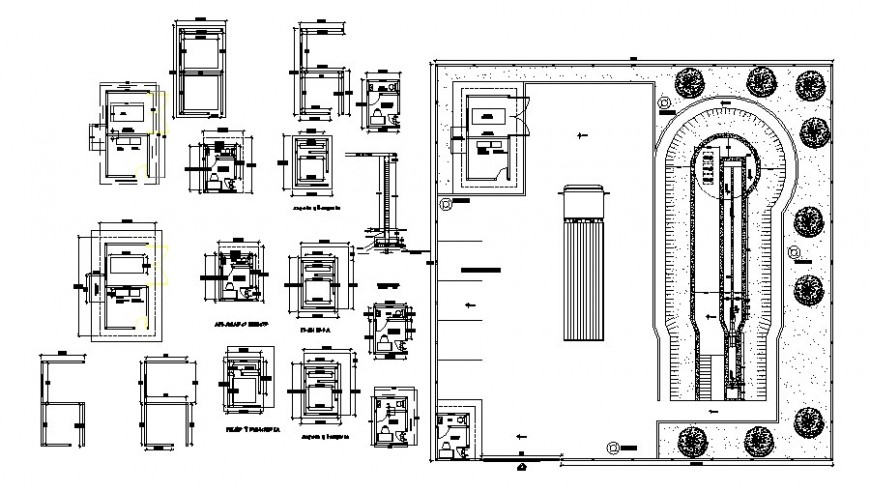 Hospital distribution plan and parking area details dwg file
