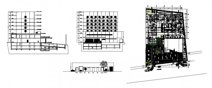 Hospital elevation, section, lateral section and distribution plan cad drawing details dwg file