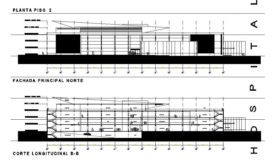 Hospital Elevation & Section Design in DWG file