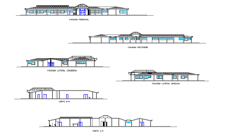 Hospital Elevation & Section detail In autocad file