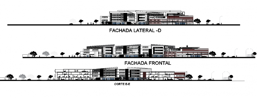 Hospital elevation and section drawing in dwg file.