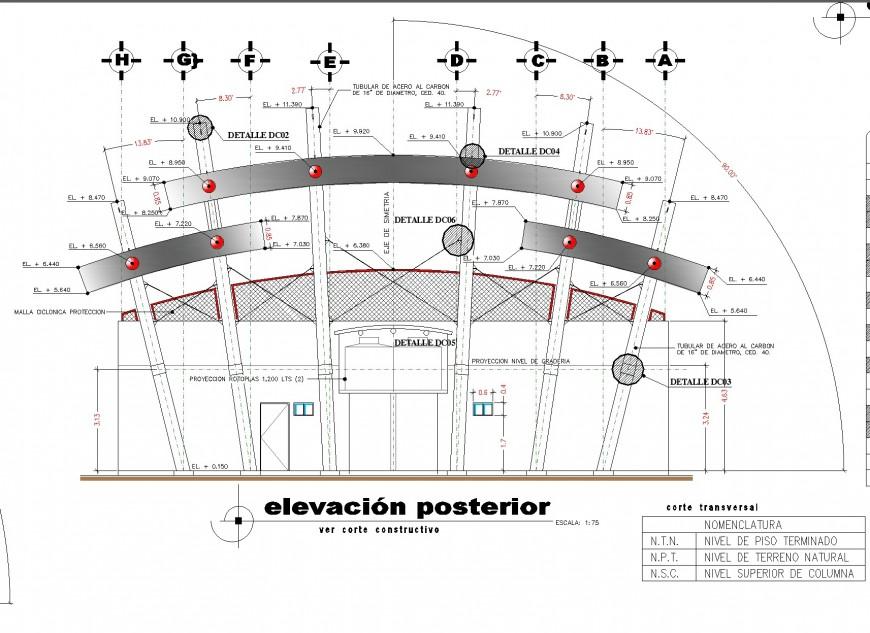 Hospital elevation reinforcement hidden line autocad file
