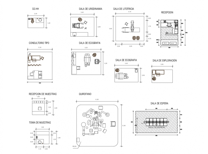 Hospital equipment, symbols, accessories and interior cad drawing details dwg file