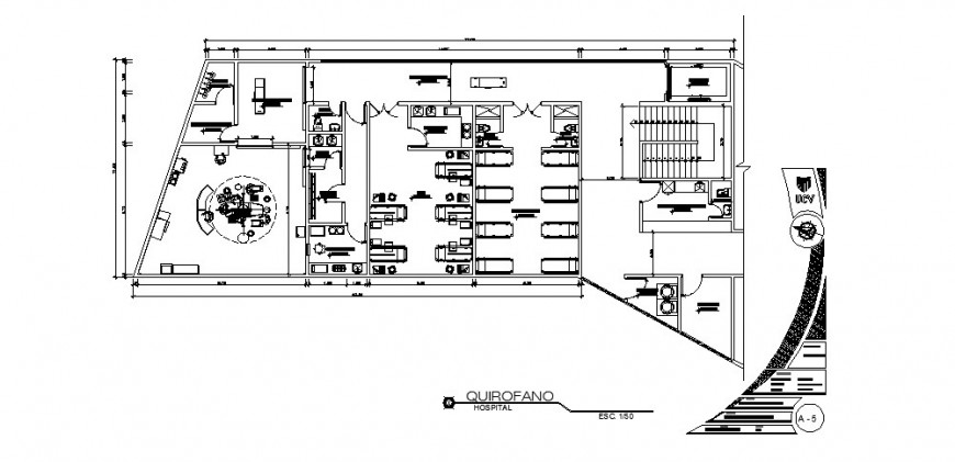 Hospital floor architecture layout plan cad drawing details dwg file