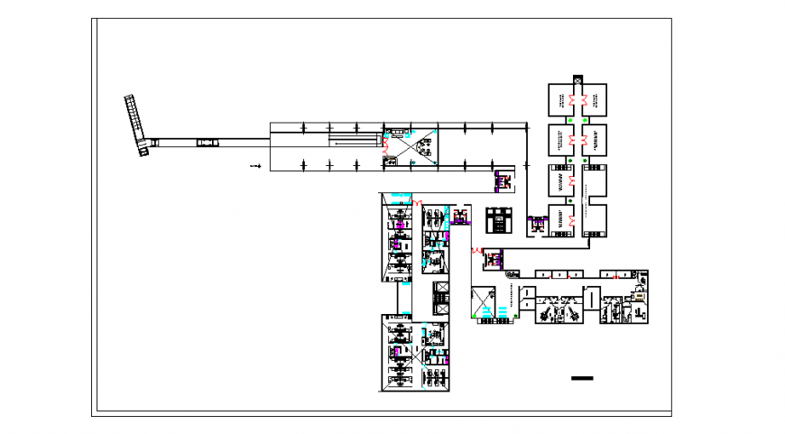 Hospital Floor Lay-out design in Autocad Drawing