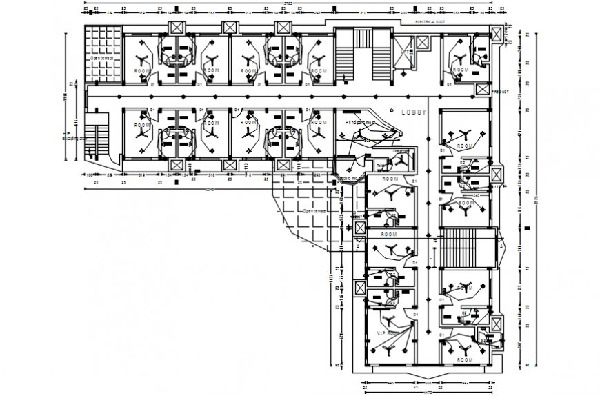 Hospital floor plan and electrical installation cad drawing details dwg file