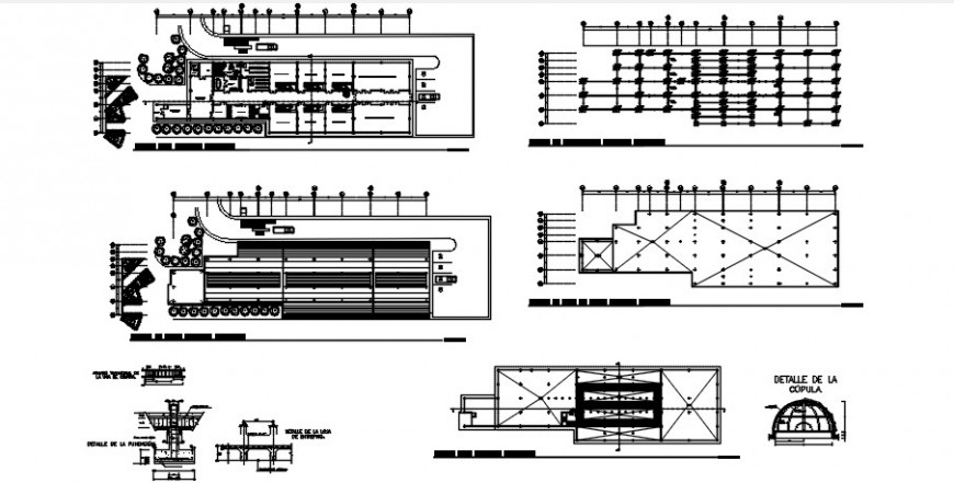 Hospital floor plan distribution, foundation and structure plan details dwg file