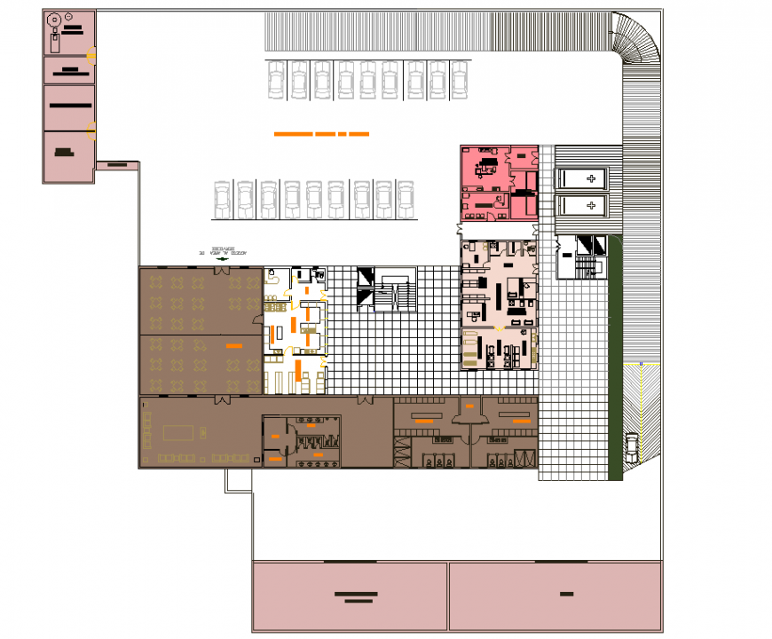 Hospital floor plan with restaurant drawing in dwg file.