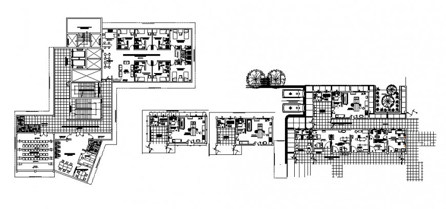 Hospital floors and departments layout plan cad drawing details dwg file