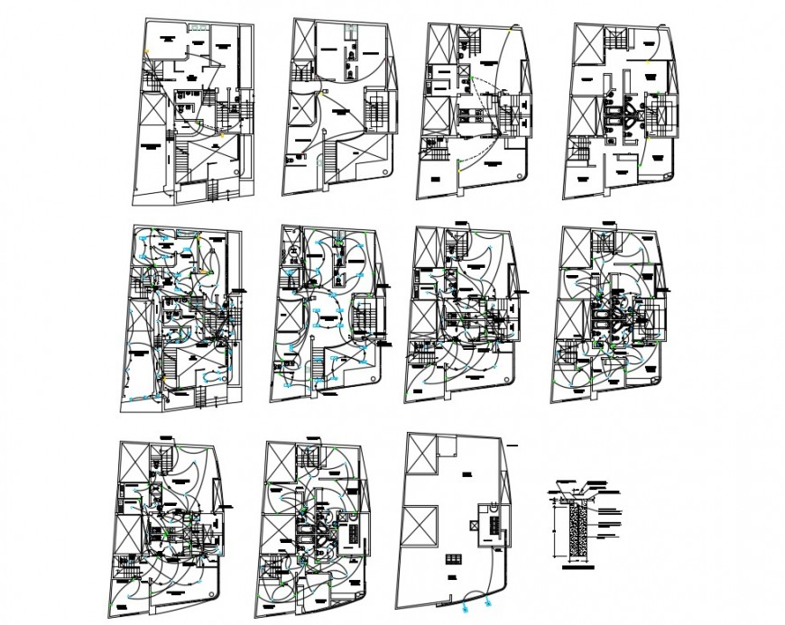 Hospital floors electrical layout plan cad drawing details dwg file