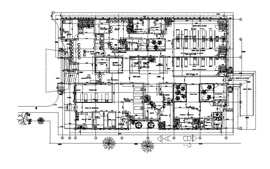hospital ground floor detail cad file