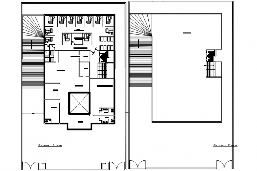 Hospital ground floor layout plan with terrace cad drawing details dwg file