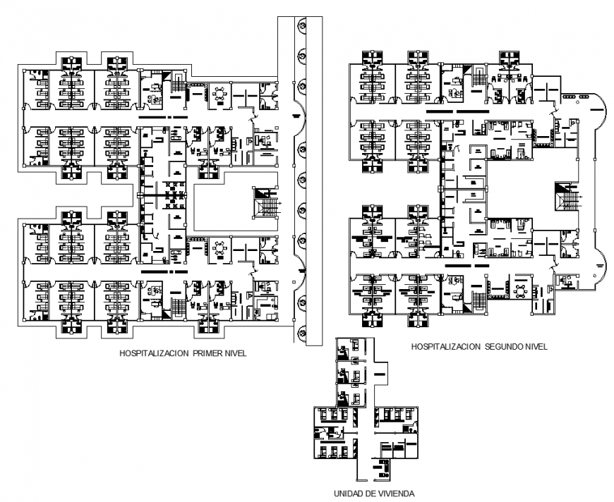 Hospital health building detail plan 2d view layout file
